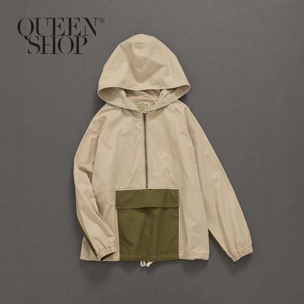 Queen Shop【01096185】撞色口袋拼接長袖連帽上衣 1/2/3/4*現+預*