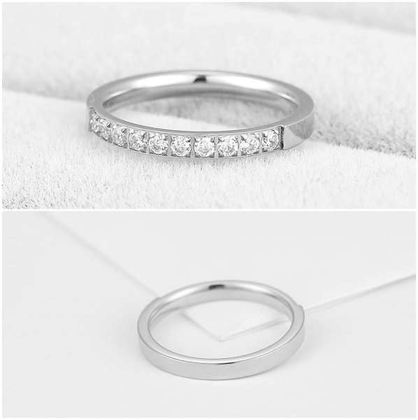 316L醫療鋼 排鑽 白水晶 戒指尾戒-銀 防抗過敏 不退色
