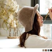 《ZB0754》純色可調式鐵絲帽沿針織漁夫帽 OrangeBear