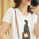 棉麻V領針織短袖女春夏新款文藝寬鬆大碼打底衫薄上衣純棉半袖T恤 三角衣櫃