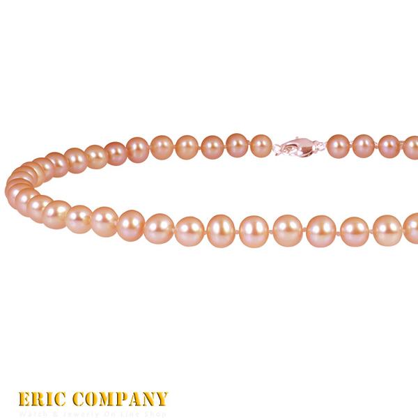 【EM eileen me】日本寶石鑑定DPS專業認證 7~8mm~天然粉橘珍珠 天然珍珠項鍊