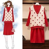 中大尺碼針織L-4XL女裝顯瘦套裝秋裝洋氣網紅胖妹妹微胖毛衣裙子兩件套4F034-A.0409韓依紡