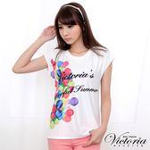 Victoria 牛奶絲氣球印花TEE-女