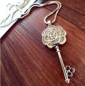 鏤空玫瑰花鑰匙毛衣鍊子韓國配飾女裝飾項鍊 長款