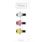 英國 Ribbies 閃亮/粉紅/金星星3入組-黑底|髮飾|髮夾