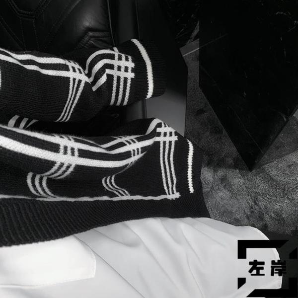 針織外套黑白格紋男休閒寬鬆加厚開衫毛衣【左岸男裝】