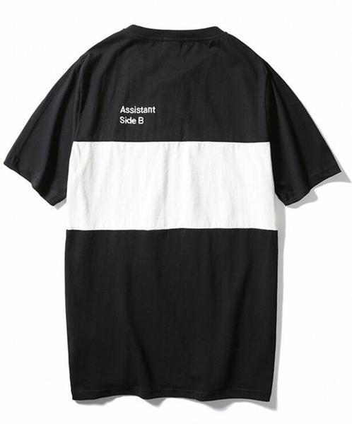 FINDSENSE品牌 時尚潮流 男 寬鬆 黑白拼接 英文刺繡 短袖T恤 特色T