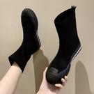 短靴 黑色馬丁靴女秋季貝殼頭彈力靴襪子短靴網紅百搭機車靴潮 晶彩 99免運