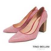 Tino Bellini 巴西進口蛇紋佐雙色條紋尖頭跟鞋 _ 紅 B83228 歐洲進口款