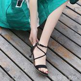 高跟涼鞋綁帶涼鞋貓跟夏中跟細跟露趾女士涼鞋交叉綁帶羅馬涼鞋女 全館免運