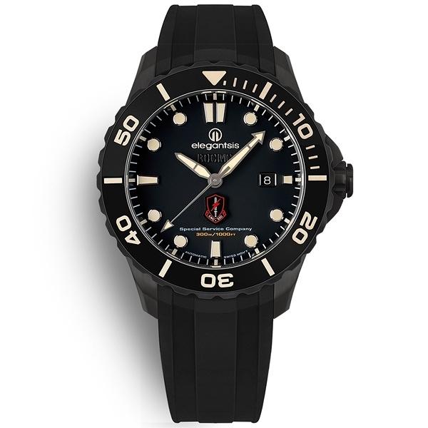 elegantsis / ELJX65AS-ROCMC-SSC / 海軍陸戰隊特勤 機械錶 鈦金屬 防水300米 矽膠手錶 黑色 44mm