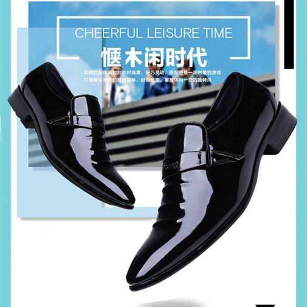皮鞋 商務尖頭休閑鞋黑色韓版套腳