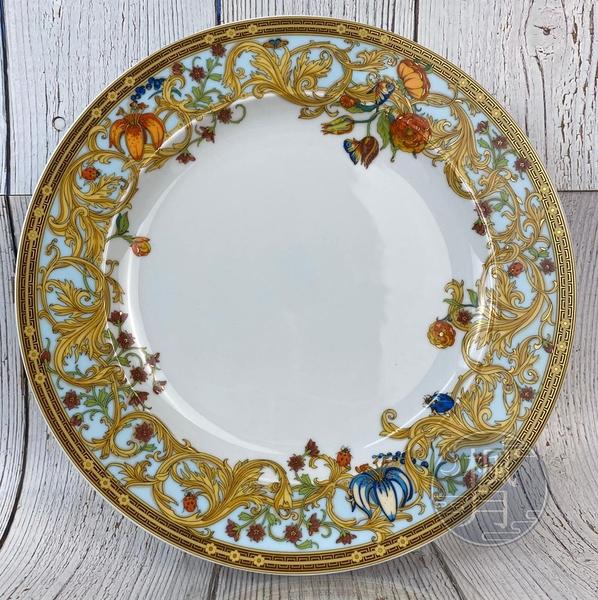 BRAND楓月 VERSACE 凡賽斯 藍色 庭園 花朵 大圓盤 瓷盤