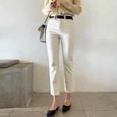 米白色直筒牛仔褲女年秋裝新款寬鬆顯瘦百搭寬鬆小個子褲子潮 雙十二全館免運