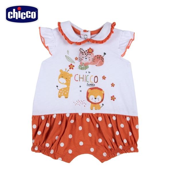 chicco-動物朋友-有領圓點剪接短袖兔裝