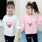 衣童趣(•‿•)韓版女童T恤 甜美愛心印花長袖上衣 百搭泡泡袖秋冬T恤