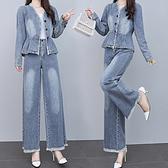 S-3XL小中大尺碼牛仔兩件套~牛仔套裝女韓版名媛洋氣兩件套BF13C愛尚布衣