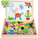 繪畫板 木制雙面磁性拼圖畫板趣味拼拼樂兒童便攜繪畫板幼兒園區角玩具 koko時裝店