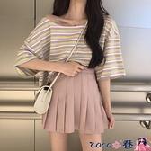 熱賣一字肩上衣 短袖女鎖骨一字肩上衣別致春裝短款2021年設計感小眾新款潮t恤 coco