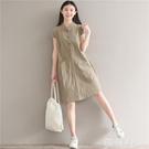亞麻洋裝 復古文藝森女系棉麻風寬鬆大碼休閒中長款立領半開衫大口袋連身裙 韓菲兒