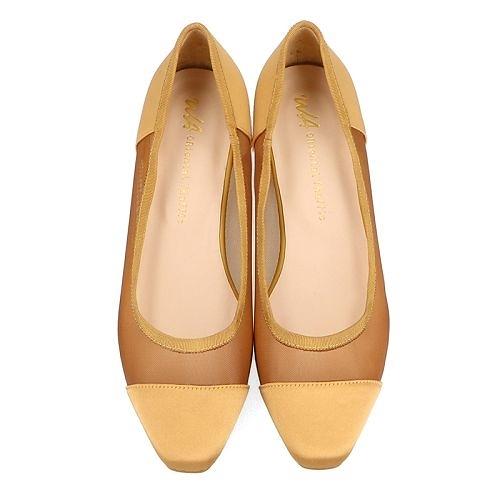【ORiental TRaffic】浪漫紡紗拼接微方頭鞋-俏皮駝