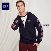 Gap男裝 Logo活力風格拉鏈連帽長袖休閒外套 373719-海軍藍