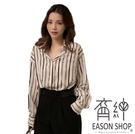 EASON SHOP(GW5960)韓版百搭款撞色直條紋薄款前排翻領長袖襯衫女上衣服落肩寬鬆內搭衫閨蜜裝黑白