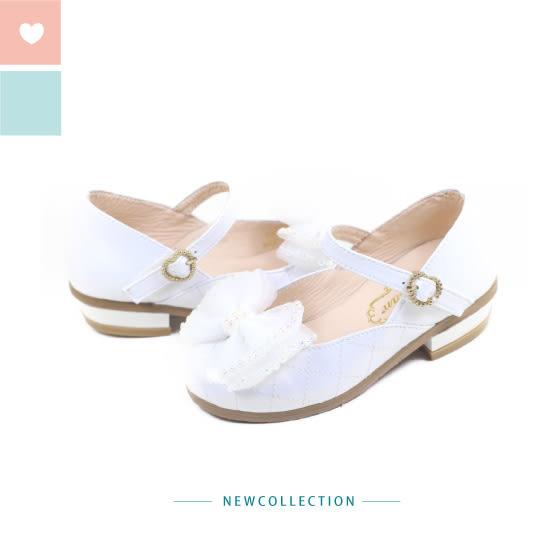Swan天鵝童鞋-閃亮水鑽菱格紋小高跟鞋3868-白