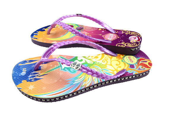QWQ創意鞋- 幻夜 施華洛世奇水鑽夾腳人字拖鞋-紫 (范特西系列 )