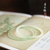 一世長安淺青色玉髓瑪瑙叮當鐲手鐲細條中國風漢風文藝氣質漢服 橙子精品