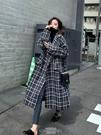 小香風外套 新款秋冬百搭韓版寬鬆小香風大衣中長款小個子格子毛呢外套女 - 古梵希