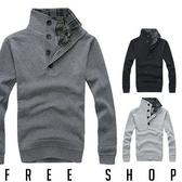 [現貨] 針織衫【QZZZTJMY022】韓版假兩件式蘇格蘭格紋拼布立領排扣保暖毛衣針織衫