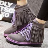 真皮短靴-時尚休閒韓版流行熱銷流蘇女靴子2色72a50【巴黎精品】