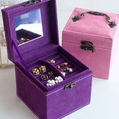 首飾盒公主歐式正韓多層木質絨布收納盒裝戒指耳環耳釘首飾盒 全館免運八折柜惠