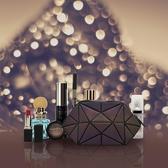 網紅便攜化妝包隨身立體零錢包手拿包收納包夜光幾何菱格包女小號 滿天星