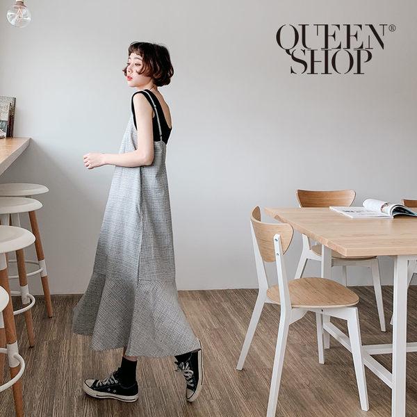 Queen Shop【01084542】小格紋魚尾細肩吊帶洋裝*現+預*