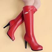 真皮長靴-精緻字母金屬裝飾高跟女靴子2色73iv7【時尚巴黎】