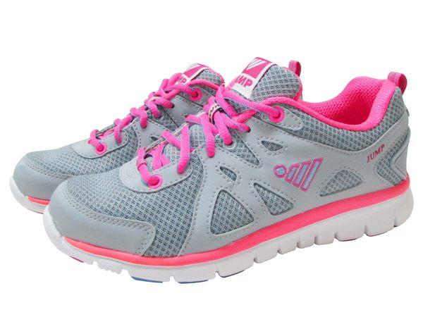 『雙惠鞋櫃』★JUMP將門★ 螢光俏麗款 女休閒運動鞋/布鞋 ★(297) 灰粉紅