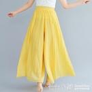 寬管褲文藝大碼女褲子棉麻褲裙鬆緊腰純色薄款褶皺不規則大擺闊腿褲夏季