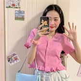 針織上衣2020夏季新款韓版短款V領荷葉邊上衣bm寬鬆粉色冰絲針織短袖T恤女 JUST M