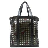 Dior 迪奧 KAWSx黑色牛皮Cannage十字型交叉紋路帆布肩背包 【二手精品BRAND OFF】