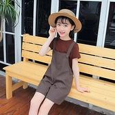 女童夏款2021新款童裝兒童寬管褲時髦套裝短褲吊帶褲洋氣兩件套潮 幸福第一站