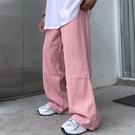 褲子女韓版ins粉色直筒長褲寬鬆高腰垂感闊腿褲學生運動休閒褲潮 後街五號