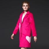 風衣外套-長版寬鬆心型拼接女毛呢大衣2色73ir20【時尚巴黎】