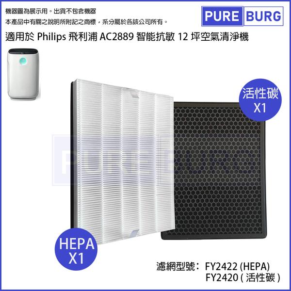 適用PHILIPS飛利浦AC2889智能抗敏空氣清機濾網組HEPA+活性碳濾心FY2422+FY2420