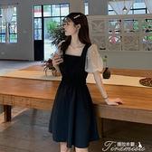 蕾絲洋裝 泡泡袖連衣裙女2020新款夏季收腰顯瘦蕾絲氣質拼接假兩件短袖裙子 快速出貨