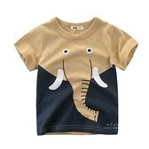 圓領拼接動物短袖上衣 大象 童裝 短袖上衣