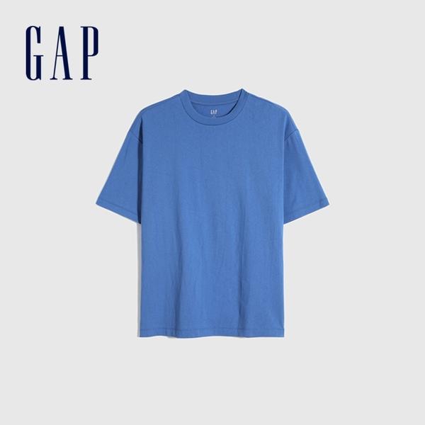 Gap男裝 棉質舒適厚磅純色圓領短袖T恤 590048-藍色