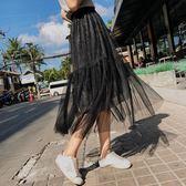 小C好康推薦洋裝免運春季新品紗裙半身洋裝高腰中長版亮片百褶裙仙女網紗裙