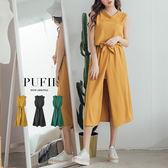 (現貨-綠)PUFII-洋裝 露單肩開衩綁腰雪紡長洋裝連身裙(附腰帶) 3色-0322 現+預 春【CP14278】